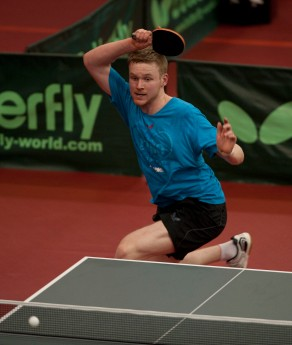 Table Tennis English National Championship, 2-4 March 2012 @ Ponds Forge Sheffield Picture Steve Parkin U21 Mens Singles Semi Final Action with Gavin Evans