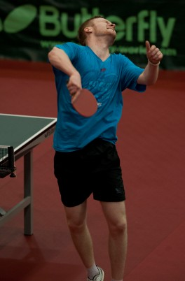 Table Tennis English National Championship, 2-4 March 2012 @ Ponds Forge Sheffield Picture Steve Parkin U21 Mens Singles Semi Final Action with Gavin Evans celebrates at the end